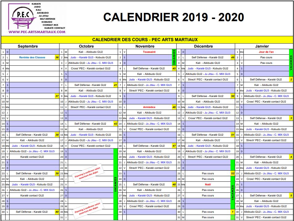 Calendrier Ffkda 2019 2020.Pec Arts Martiaux Calendrier Des Cours